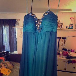 Long blue prom dress.
